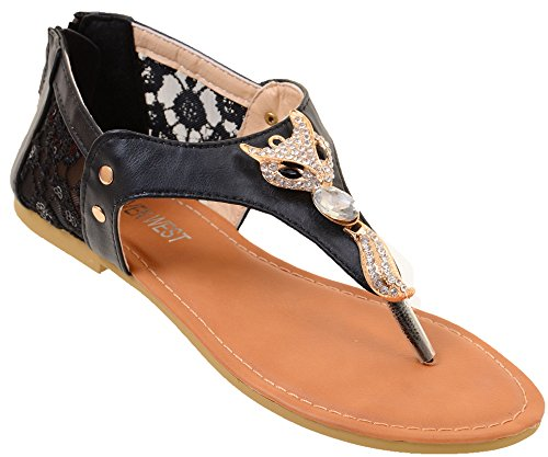 Cute Fox Sparkle & Lace Flat Thong Womens Vegan Sandals Black Do9EHZ60