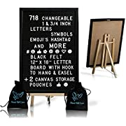 Black Felt Letter Board With Easel Stand 12 x 18 | 718 Changeable Characters Including 1 inch and ¾ Letters, Symbols, Emojis Hashtag + More | Hook To Hang | 2 Bags (Black W/Black Aluminium Frame)