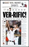 """•Justin Verlander Throws his First Career No Hitter •High Quality Reproduction of the 6-12-07 Detroit Free Press •Measures 16""""x24"""""""