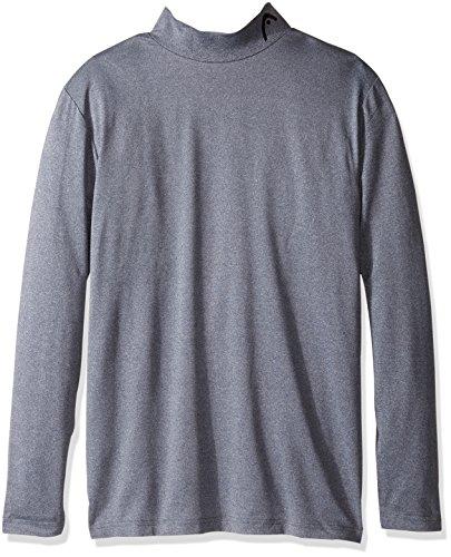 HEAD Men's Long Sleeve Training Mock Neck Top, Cool Grey Heather, (Mock Long Sleeve Top)