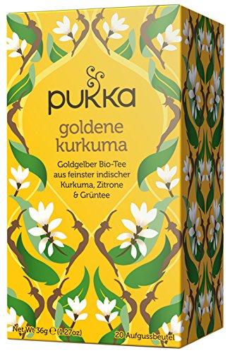 Pukka Te organico de curcuma dorada, 20 bolsas de 3