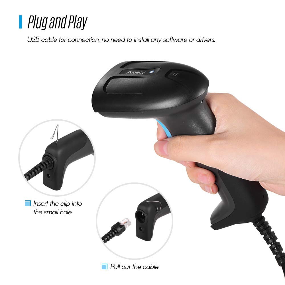 Ajorhkdls Aibecy Handheld USB Wired CMOS Image Barcode Scanner 1D 2D QR Bar Code Reader with USB Cable Plug and Play for Mobile Payment Computer Screen for Supermarket Retail Store Warehouse