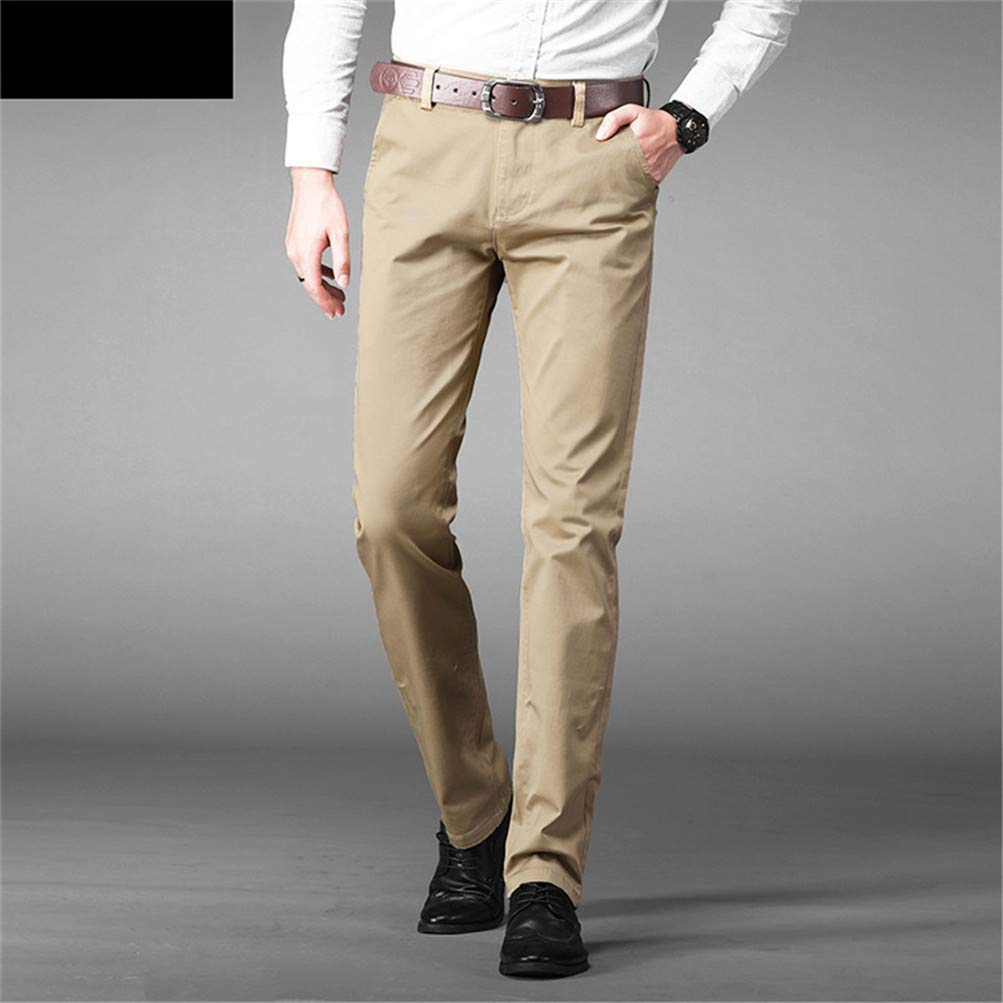Mens Pants Cotton Casual Pants Stretch Trousers Man Long Straight