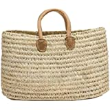 """Moroccan Straw Shopper Bag w/Brown Leather Handles - 21""""Lx20""""H - Tangiers"""