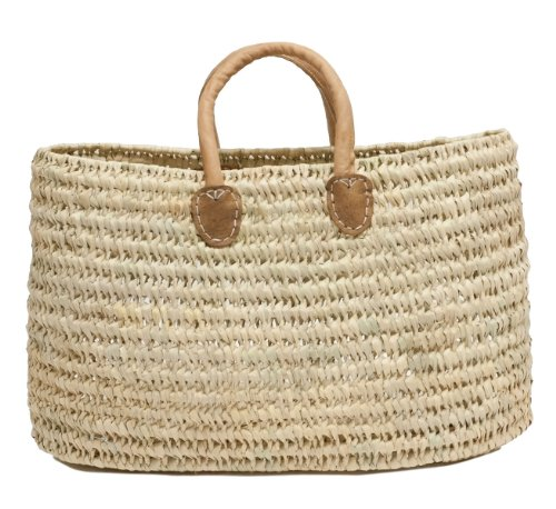 Moroccan Straw Shopper Leather Handles product image