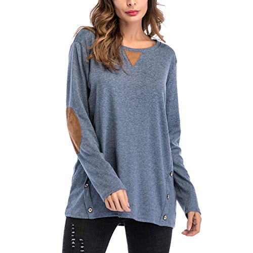 semen Printemps T Sweat Loose Taille Pull Manches Femme Tops Casual shirt shirt Uni Automne Tunique Bleu Longues over Grande rnrYHAqSw