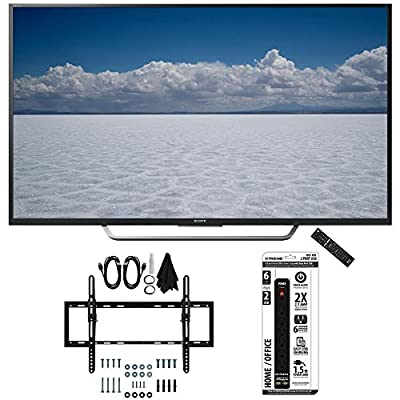"Sony XBR-49X700D - 49"" Class 4K Ultra HD TV with Tilt Wall Mount Bundle includes TV, Flat & Tilt Wall Mount Ultimate Kit and 6 Outlet Power Strip with Dual USB Ports"