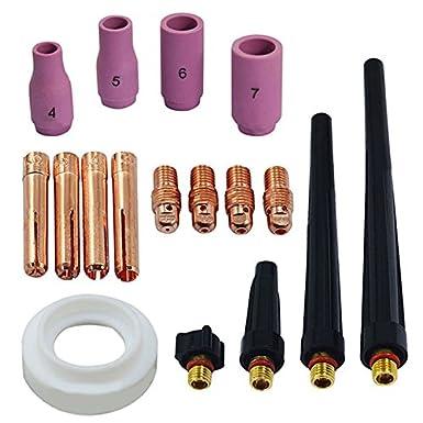 nuolux Wig Gas lente Collet surtidos tamaño Kit Fit Sr wp9 20 25 Wig Soldadura antorcha, 53pcs: Amazon.es: Electrónica