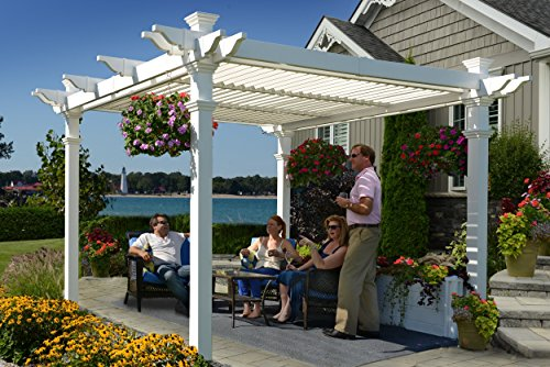 Vinyl Pergola Kits - Avalon 10' x 10' Adjustable Louvered Vinyl Pergola