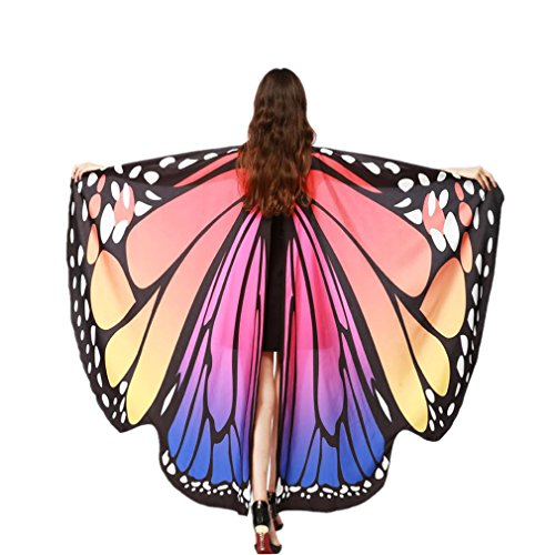 Party Costume, METFIT Soft Fabric Butterfly Wings Shawl Fairy Pixie Accessory 2017 (Hot Pink (Soft Butterfly Wings Costume)