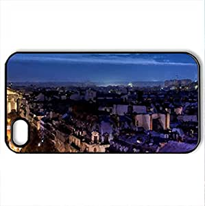 night view of paris france - Case Cover for iPhone 4 and 4s (Watercolor style, Black)