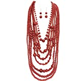 S.Uniklook Chunky Statement Bib Coral Red Simulated Pearl Beaded Strand Necklace Earrings jewelry set for Women