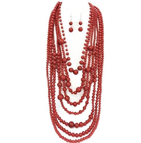 Statement Coral Red Simulated Stone Beaded Layered Strands Long Beads Necklace Earrings Set Gift Bijoux