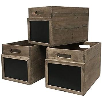 3 Puertas Cajas con Pizarra de Estilo Antiguo 20 cm: Amazon ...