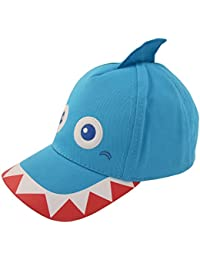 ABG Accessories Toddler Boys Cotton Baseball Cap with Assorted Animal Critter Designs, Age 2-4 (Shark Design – Blue)