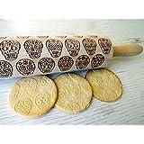 Rolling pin SUGAR SKULLS Wooden embossing rolling pin with SUGAR SKULLS pattern. Embossed cookies. Pottery.