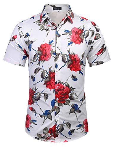 COOFANDY Men's Casual Hawaiian Shirt Short Sleeve Floral Printed Shirts Button Down Aloha Shirt for Beach,Holiday,Luau,Party