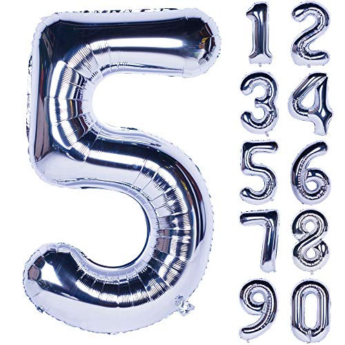 - 40 Inch Silver Numbers 0-9 Birthday Party Decorations Helium Foil Mylar Number Balloon Digital 5