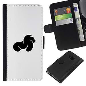 KLONGSHOP // Tirón de la caja Cartera de cuero con ranuras para tarjetas - Negro Especial - HTC One M9 //