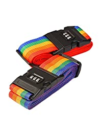 2Packs Long Travel Luggage Strap Packing Belt Suitcase Bag Security Straps with Clip, Colorized