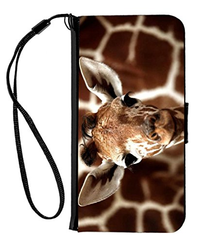 Black Giraffe Wallet - Rikki Knight Giraffe cool Background Design iPhone 6 & 6s PU Wallet Flip Case with Kickstand and Magnetic Flap - Black