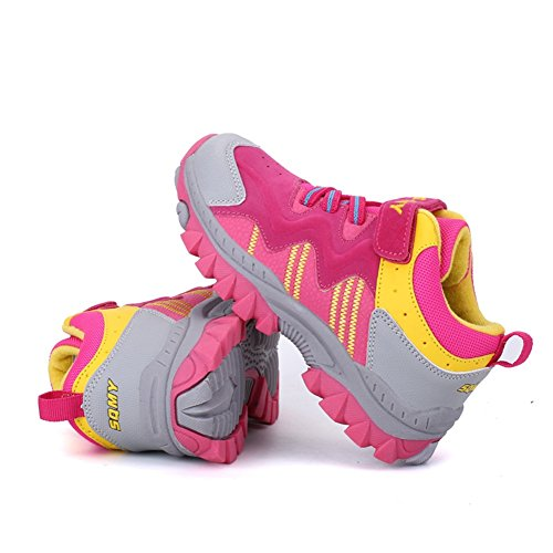 de Botas suela Rosa impermeables ligeras tracción niños de Walking Zapatillas para Unisex para deporte Shoes alta transpirables exteriores Kids'Hiking Trekking q7AXA4