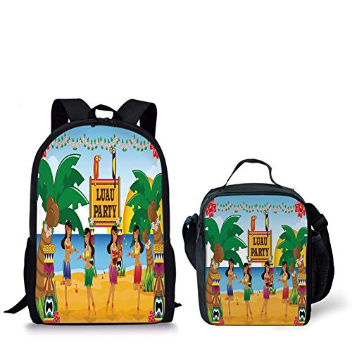 iPrint Schoolbags Lunch Bags,Tiki Bar Decor,Hawaiian Luau Party in Cartoon Style Dancers on Beach Festive Tradition Decorative,Multicolor,Bags,Two Piece Set