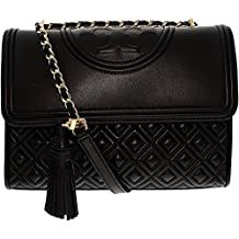 Tory Burch Women's Fleming Quilted Leather Sholder Bag Leather Cross Body Bag - Black