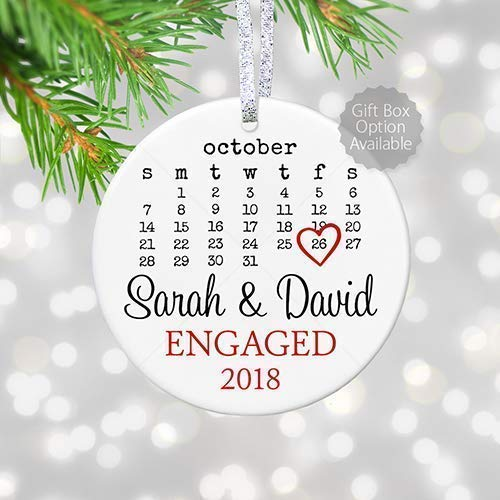 "Personalized Engagement Gift with Date for Newly Engaged Couple, First Christmas Engaged Ornament 2019, Proposal Gift for Her - 3"" Flat Circle Porcelain Ornament - Gold & Silver Ribbon 