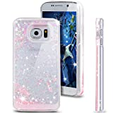 S6 Case, Galaxy S6 Case, NSSTAR Galaxy S6 Bling Case, Liquid Case for Galaxy S6,Case for Galaxy S6,Hard Case for Galaxy S6, Fashion Creative Design Flowing Liquid Floating Luxury Bling Glitter Sparkle Love Heart Hard Case for Samsung Galaxy S6 (Love:Pink)