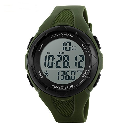 SKMEI 1108 Japanese-quartz LED Display 50M Waterproof Sports Multifunction Pedometer Watch by SKMEI