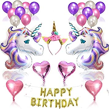 Naturespace Unicorn Balloon Birthday Decoration Set And Cake Toppers