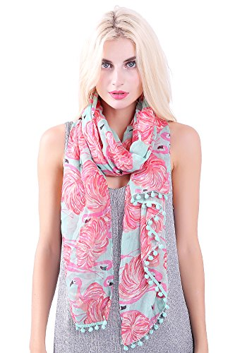 MissShorthair Flamingo Print Scarf with Tassels for Women