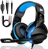 Casque Gaming PS4, Casque Xbox One avec Anti-Bruit Condensateur Micro et 50 mm Double EntraîNement Compatible PC Xbox One...