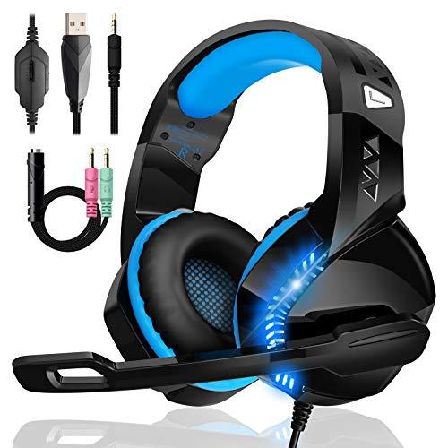 Cascos Gaming de GM-14 PRO PS4 Sonido Envolvente Estéreo Micrófono Giratorio de 120 ° Compatibles con PS4 / PS5 / Xbox One / PC