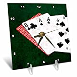 3dRose Alexis Photo-Art - Poker Hands - Poker Hands Dead Man Hand - 6x6 Desk Clock (dc_270580_1)