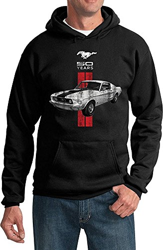 Ducks Limited Edition - Ford Mustang Hoodie Limited Edition 50 Years Red Stripe Sweatshirt, Black,S