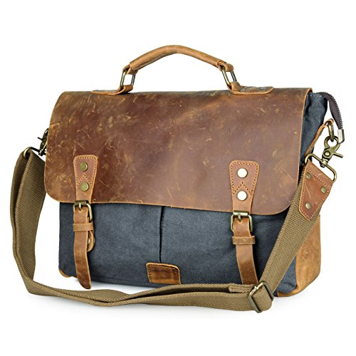 Leather Laptop Carriers'' (Genuine Leather Vintage Canvas Laptop Messenger Bag - 13