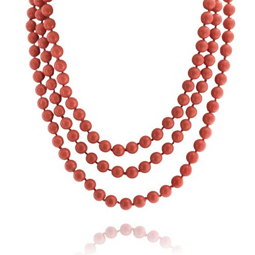Bling Jewelry Orange Red Dyed Coral Color Beads Endless Layering Long Strand Necklace for Women 69 Inch ()