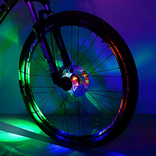 Sarissa Bicycle Hub Light, Safety Waterproof Bike Wheel Lights LED Cycling Spoke Rim Light for Kids Adults Night Riding (Colorful, 1 Pack)