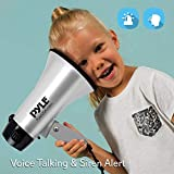 Portable Megaphone Speaker Siren Bullhorn - Compact and Battery Operated with 20 Watt Power, Microphone, 2 Modes, PA Sound and Foldable Handle for Cheerleading and Police Use - Pyle PMP23SL