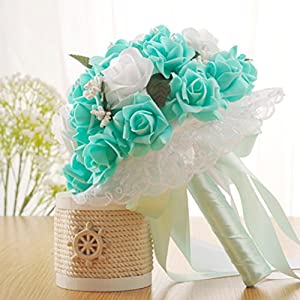Wedding Bouquet,YJYDADA Crystal Roses Bridesmaid Wedding Bouquet Bridal Artificial Silk Flowers (Green) 25