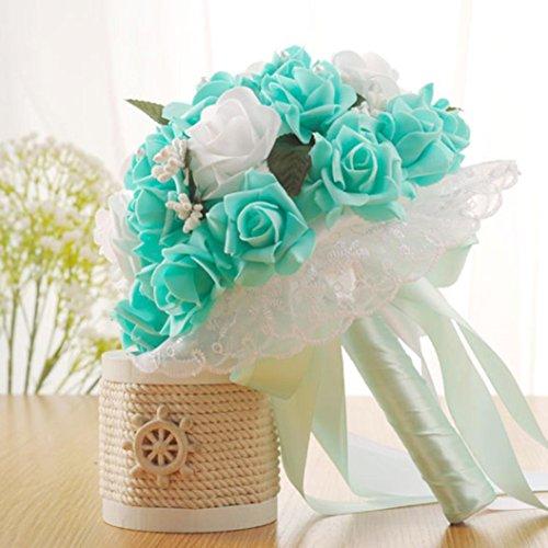 - Wedding Bouquet,YJYDADA Crystal Roses Bridesmaid Wedding Bouquet Bridal Artificial Silk Flowers (Green)