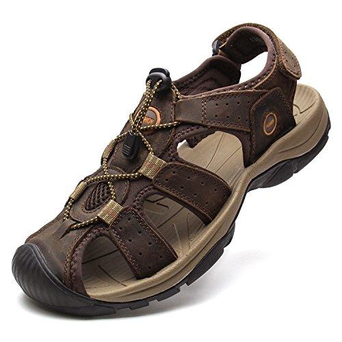 YoCool Leather Fisherman Sandals for Men Hiking Fishing Sport Casual Brown 1365/SZ-44 (Sandal Toe Closed Fisherman)