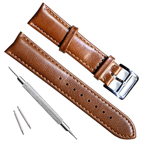 Handmade Vintage Replacement Leather Watch Strap/Watch Band (20mm, New Buckle/Brown)