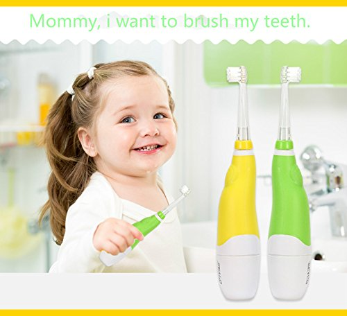 Kids Baby Toothbrush, ALLOMN Oral Care Baby Sonic Electric Toothbrush with 2 brush heads Soft Bristle LED Lights (Yellow Color) by ALLOMN