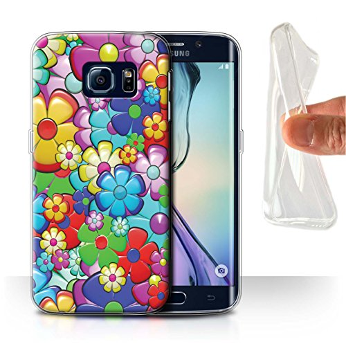 STUFF4 Gel TPU Phone Case/Cover for Samsung Galaxy S6 Edge/Vibrant Flower Power Design/Hippie Hipster Art Collection