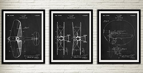 Staggered Biplane Airplane Patent Chalkboard Art Print Set Aircraft Home Decor Wall Art Print Wall Decor Home Art Wall Hanging from Poster Soul