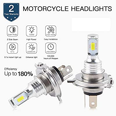 H2Racing Bombillas Faros H4 LED de Moto,3000LM/Pair 6500K Blanco Frío 2 Lámparas Luz(Una viga)