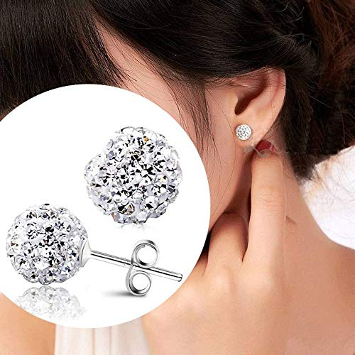 ZHNA New Women's Fashion Girls Trending Rhinestone CZ Flower Bud Ball Stud Earrings (Silver,12MM)